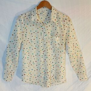 Sz S used I love h81 heart button down